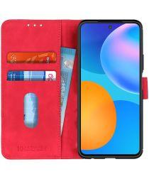 Huawei P Smart 2021 Hoesje Retro Wallet Book Case Rood