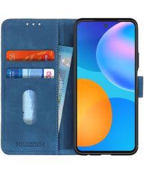 Huawei P Smart 2021 Hoesje Retro Wallet Book Case Blauw