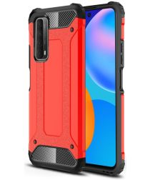Huawei P Smart 2021 Hoesje Hybride Shock Proof Back Cover Rood