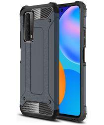 Huawei P Smart 2021 Hoesje Hybride Shock Proof Back Cover Blauw