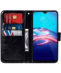 Motorola Moto E7 Hoesje Portemonnee Book Case Zwart