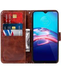 Motorola Moto E7 Hoesje Portemonnee Book Case Bruin