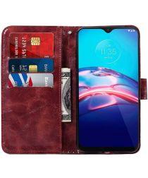 Motorola Moto E7 Hoesje Portemonnee Book Case Rood