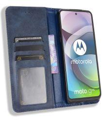 Motorola Moto G 5G Hoesje Vintage Portemonnee Book Case Blauw