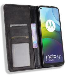 Motorola Moto G9 Power Hoesje Vintage Portemonnee Book Case Zwart