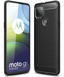Motorola Moto G9 Power Hoesje Geborsteld TPU Flexibele Backcover Zwart