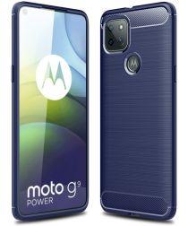 Motorola Moto G9 Power Hoesje Geborsteld TPU Flexibele Backcover Blauw