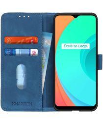 Realme C11 Hoesje Retro Wallet Book Case Blauw