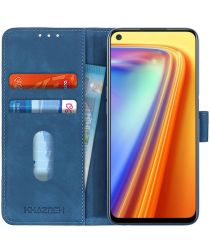KHAZNEH Realme 7 Hoesje Retro Wallet Book Case Blauw