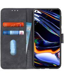 Realme 7 Pro Hoesje Retro Wallet Book Case Zwart