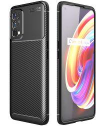 Realme 7 Pro Hoesje Siliconen Carbon TPU Back Cover Zwart