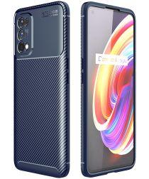 Realme 7 Pro Hoesje Siliconen Carbon TPU Back Cover Blauw