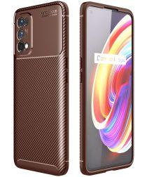 Realme 7 Pro Hoesje Siliconen Carbon TPU Back Cover Bruin