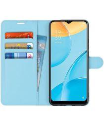 Oppo A15 Litchi Skin Portemonnee Hoesje Book Case Blauw