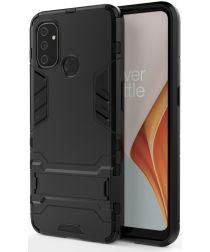 OnePlus Nord N100 Hoesje Shock Proof Back Cover Met Kickstand Zwart