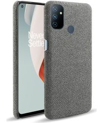 OnePlus Nord N100 Hoesje Stoffen Back Cover Grijs