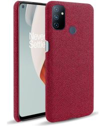OnePlus Nord N100 Hoesje Stoffen Back Cover Rood