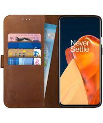 Rosso Deluxe OnePlus 9 Pro Hoesje Echt Leer Book Case Bruin