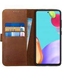 Rosso Deluxe Samsung Galaxy A52 Hoesje Echt Leer Book Case Bruin
