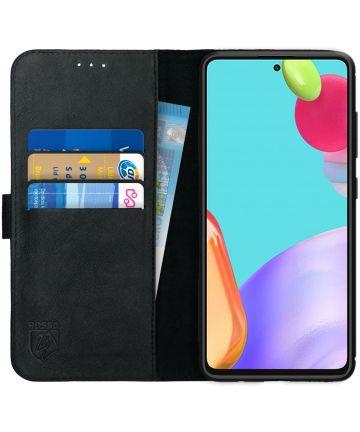 Rosso Deluxe Samsung Galaxy A52 Hoesje Echt Leer Book Case Zwart Hoesjes