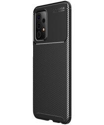 Samsung Galaxy A72 Hoesje Siliconen Carbon TPU Back Cover Zwart