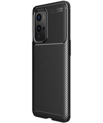 OnePlus 9 Pro Hoesje Siliconen Carbon TPU Back Cover Zwart