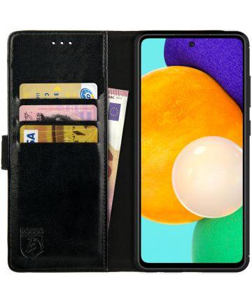 Rosso Element Samsung Galaxy A52 Hoesje Bookcover Wallet Zwart Hoesjes