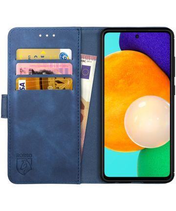Rosso Element Samsung Galaxy A52 Hoesje Bookcover Wallet Blauw Hoesjes