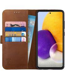 Rosso Deluxe Samsung Galaxy A72 Hoesje Echt Leer Book Case Bruin