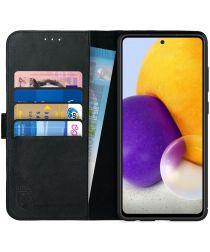 Rosso Deluxe Samsung Galaxy A72 Hoesje Echt Leer Book Case Zwart