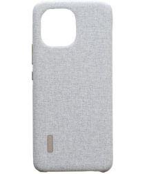 Origineel Xiaomi Mi 11 Hoesje Rugged Vegan Leather Case Carbon Grijs