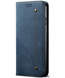 Samsung Galaxy A32 5G Hoesje Portemonnee Stof Textuur Book Case Blauw