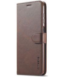 LC.IMEEKE Samsung Galaxy A12 Hoesje Book Case Kunst Leer Bruin