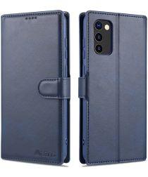 AZNS Samsung Galaxy A02s Hoesje Book Case Kunst Leer Blauw