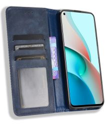 Xiaomi Redmi Note 9T Portemonnee Hoesje Vintage Look Kunst Leer Blauw
