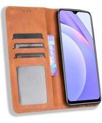 Xiaomi Redmi 9T Styles Portemonnee Hoesje Retro Look Kunstleer Bruin