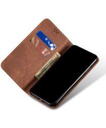 Xiaomi Redmi Note 9T Hoesje Portemonnee Stof Textuur Book Case Bruin