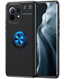Xiaomi Mi 11 Hoesje Metalen Magnetische Ring Kickstand Blauw Zwart
