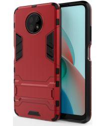 Xiaomi Redmi Note 9T Hoesje Hybride Back Cover met Kickstand Rood