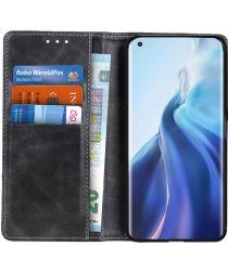 Xiaomi Mi 11 Hoesje Portemonnee met Drukknoop Sluiting Zwart