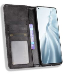 Xiaomi Mi 11 Hoesje Vintage Portemonnee Book Case Zwart