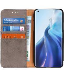 Xiaomi Mi 11 Hoesje Portemonnee Book Case met Drukknoop Sluiting Grijs
