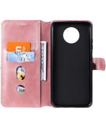 Xiaomi Redmi Note 9T Hoesje Portemonnee Retro Book Case Roze