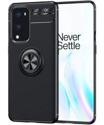 OnePlus 9 Hoesje TPU Back Cover met Magnetische Kickstand Ring Zwart