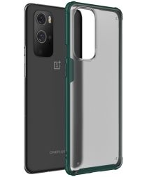 OnePlus 9 Pro Hoesje TPU Hybride Back Cover Mat Transparant/Groen