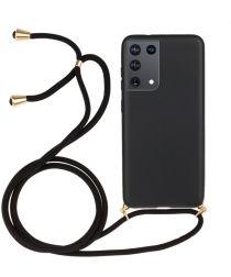 Samsung Galaxy S21 Ultra Hoesje Back Cover Flexibel TPU Koord Zwart