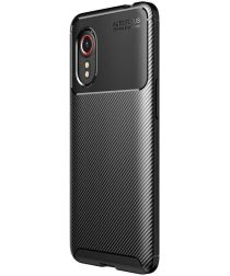 Samsung Galaxy Xcover 5 Hoesje Siliconen Carbon TPU Back Cover Zwart