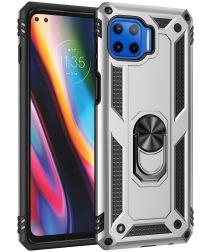Motorola Moto G 5G Plus Hybride Hoesje Back Cover met Kickstand Zilver