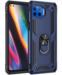 Motorola Moto G 5G Plus Hybride Hoesje Back Cover met Kickstand Blauw