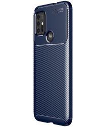 Motorola Moto G10/G20/G30 Hoesje Siliconen Carbon TPU Back Cover Blauw